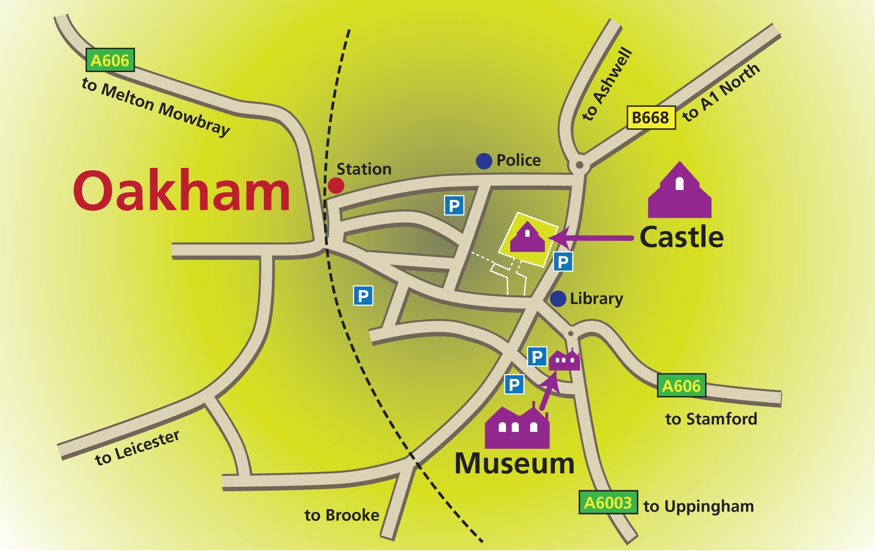 Oakham with location of Castle and Rutland County Museum.