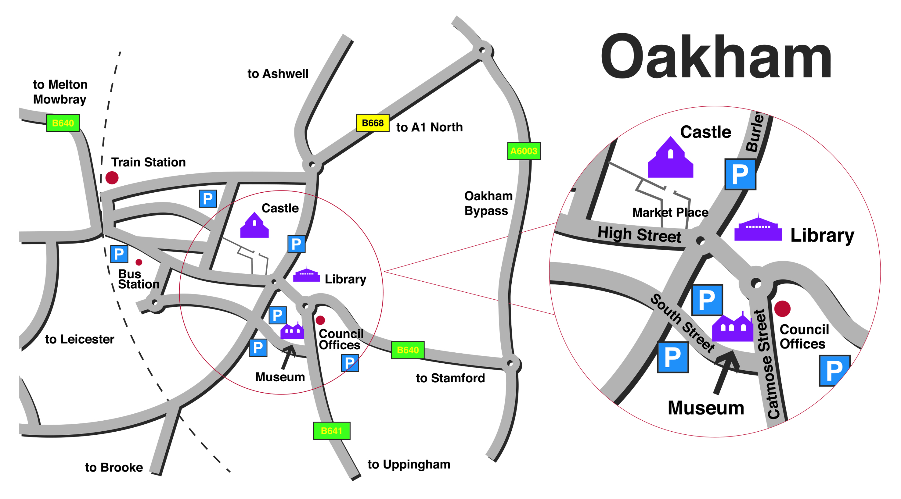 Location of Rutland County Museum and Oakham Castle.