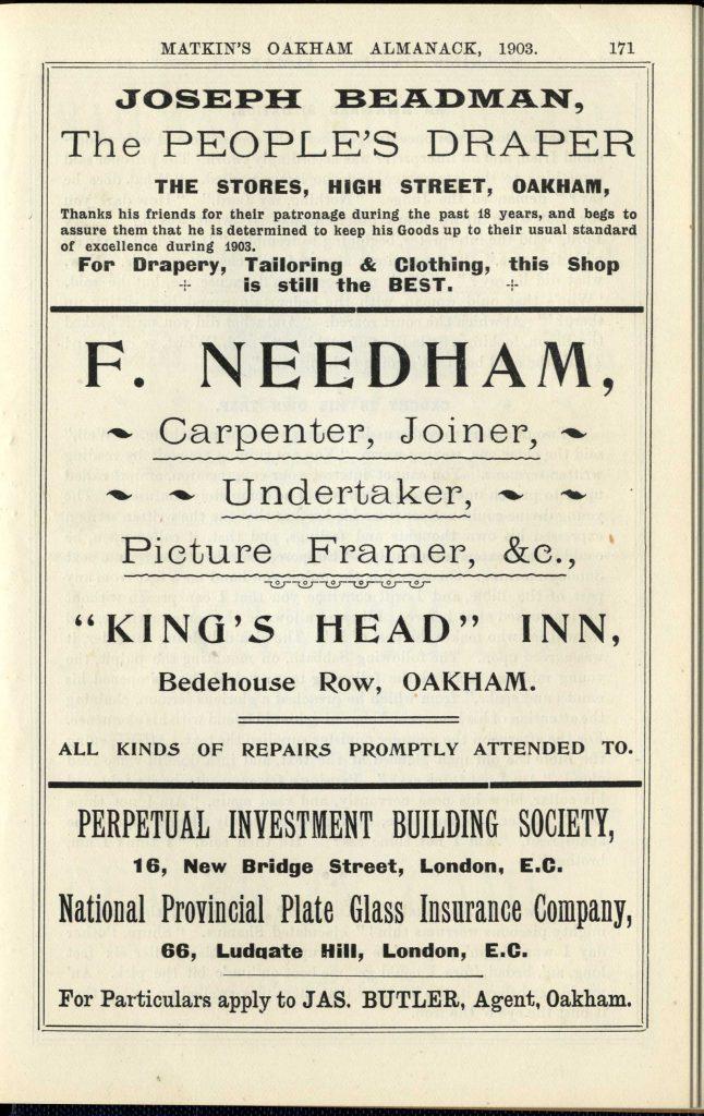 Advertisement from Matkin's Almanack for F. Needham, Carpenter, Joiner, Undertaker, Picture Framer etc at King's Head Inn