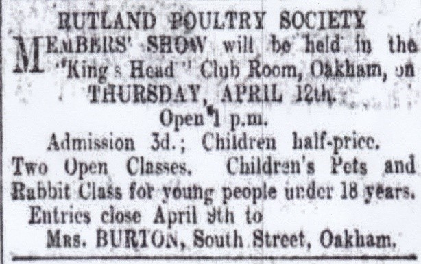 Newspaper cutting referencing Rutland Poultry Society Members Show