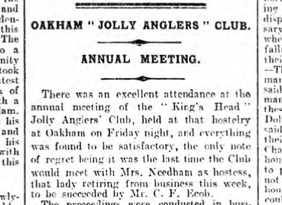Newspaper cutting referencing Jolly Anglers Club meeting