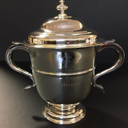 Photograph of Queen Anne Style silver cup and cover