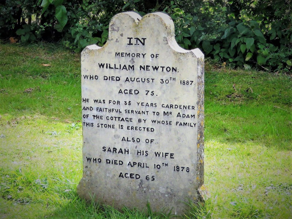 Photograph of headstone for Willian and Sarah Newton